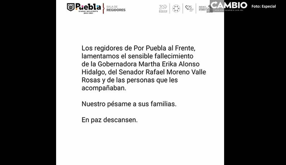 Regidores del Frente se suman a las condolencias por la muerte de Martha Erika y Moreno Valle