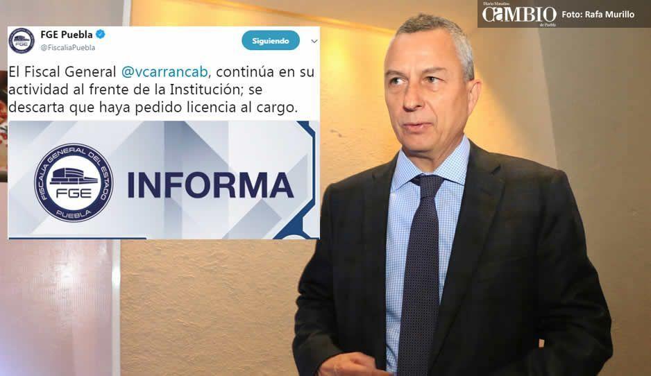 Confirma Fiscalía que Carrancá sigue al frente y no ha solicitado licencia