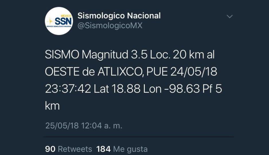 Se registra sismo magnitud 3.5 en Atlixco