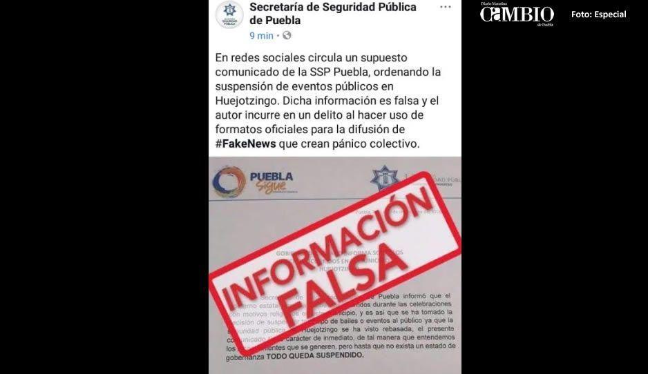 SSP desmiente Fake News sobre cancelación de eventos patronales en Huejotzingo