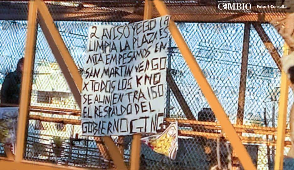 CJNG presume respaldo del gobierno y amenaza con narcomanta en Cuautlancingo