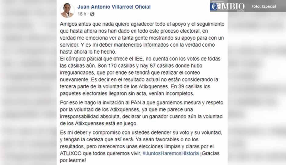 Villarroel pide mesura al PAN: IEE aún no tiene los votos de todas las casillas