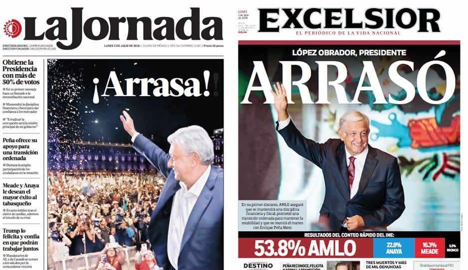 Triunfo de AMLO arrasa las portadas de los diarios en México