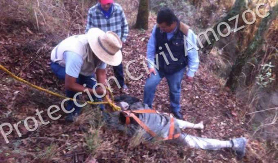 Borracho cae a Barranca en Amozoc y es rescatado ileso