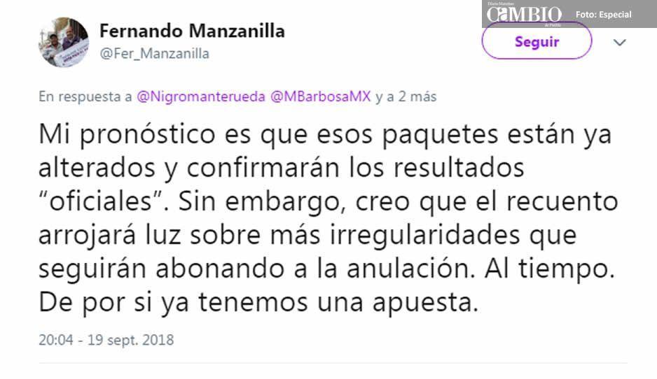 Manzanilla pronostica que el conteo total del TEPJF confirmará los resultados de la victoria de MEA