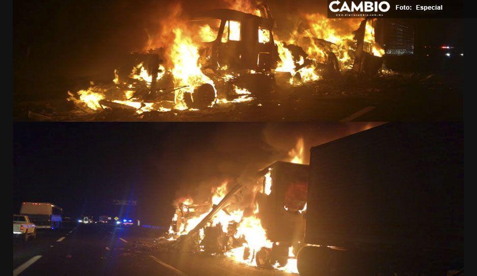 Se incendia tractocamión en Tlalancaleca