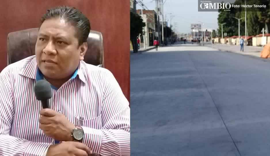 Ayuntamiento de Huejotzingo demuele pavimento por la mala calidad del material