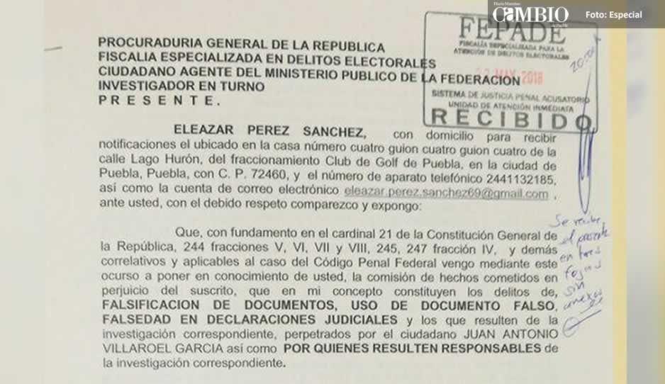Eleazar Pérez denuncia ante la FEPADE a Juan Antonio Villarroel por falsear información