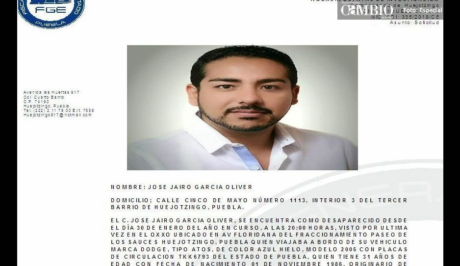 Comparte para localizar a Jairo García, desaparecido en Huejotzingo