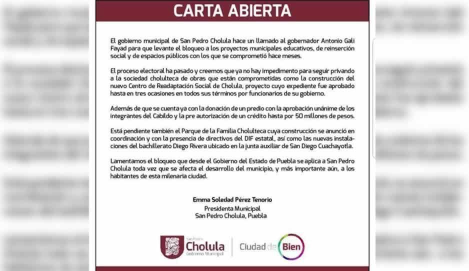 Alcaldesa de San Pedro Cholula denuncia bloqueo en obras, por parte del Estado