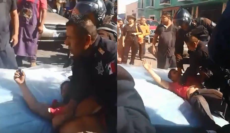 Polipuercos de Cholula someten sin motivo a trabajadores de Elektra (VIDEOS)