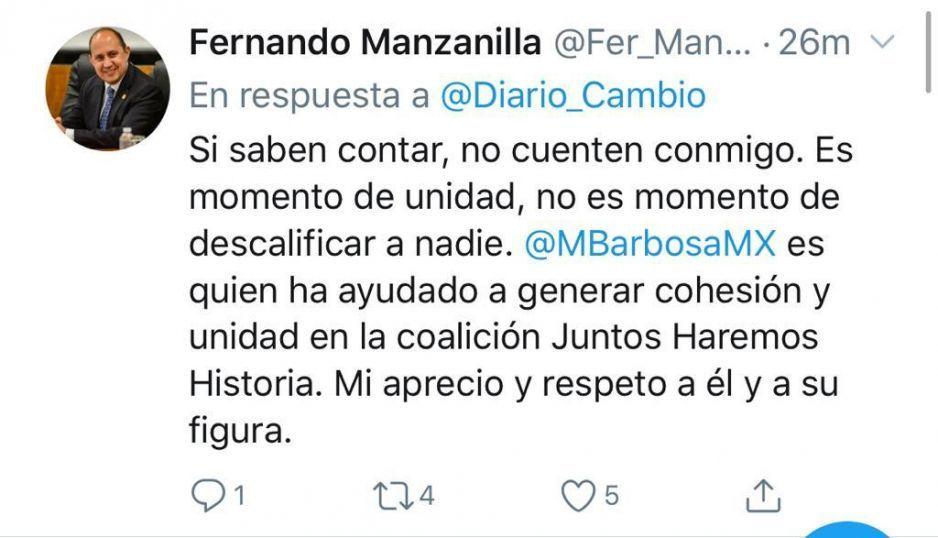 Se descarta Manzanilla para la gubernatura de Puebla; va con Barbosa