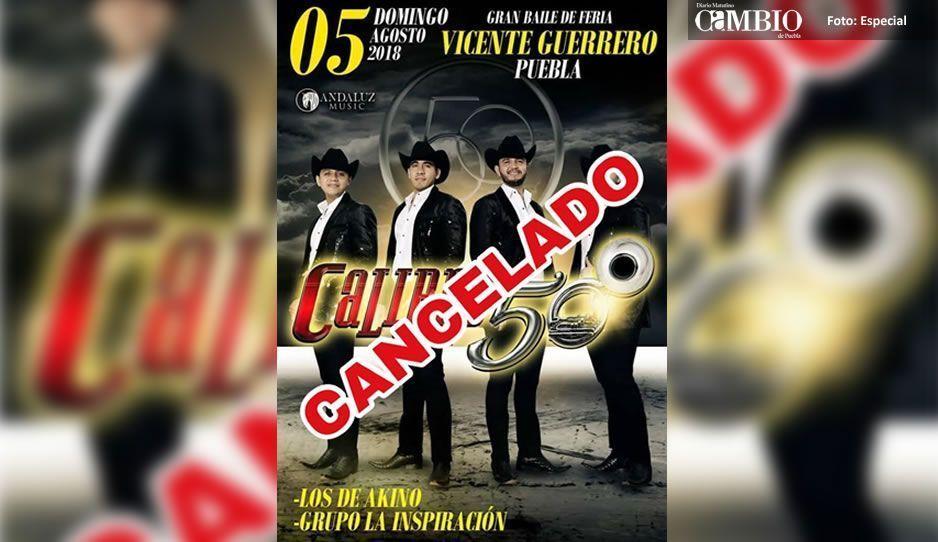 Calibre 50 es amenazado por el CJNG: Cancelan todos sus conciertos en Puebla