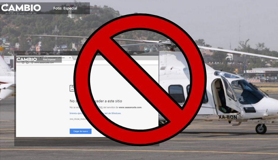 Desaparece portal de Servicios Aéreos del Altiplano, la empresa a la que arrendaron el Agusta mortal