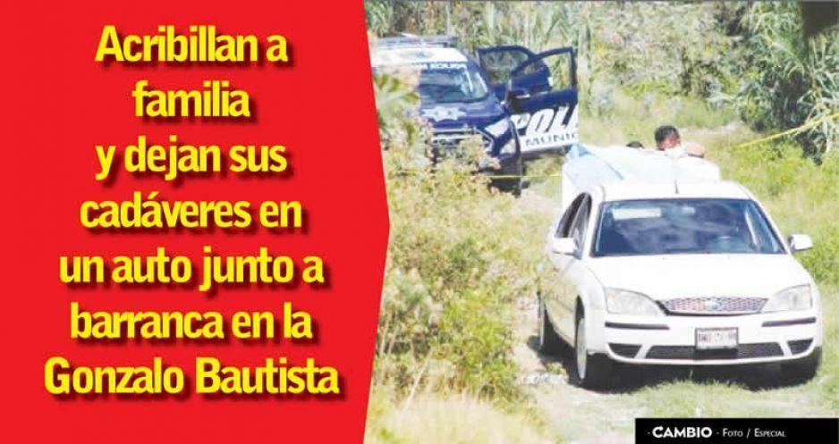 Acribillan a familia y dejan sus cadáveres en un auto junto a barranca en la Gonzalo Bautista (VIDEO)