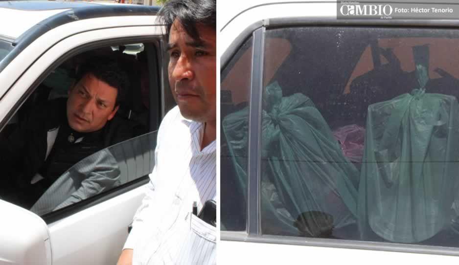 En Texmelucan, sorprenden al candidato priista Carlos Sánchez con despensas en su vehículo (VIDEO)