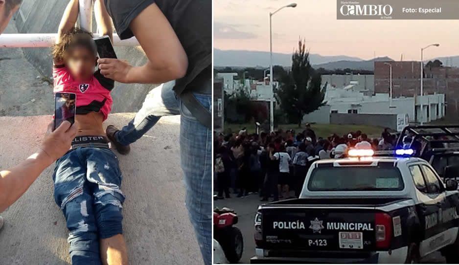 Vecinos golpean y amarran a centroamericano; correteó con cuchillo en mano a una mujer en Huejotzingo