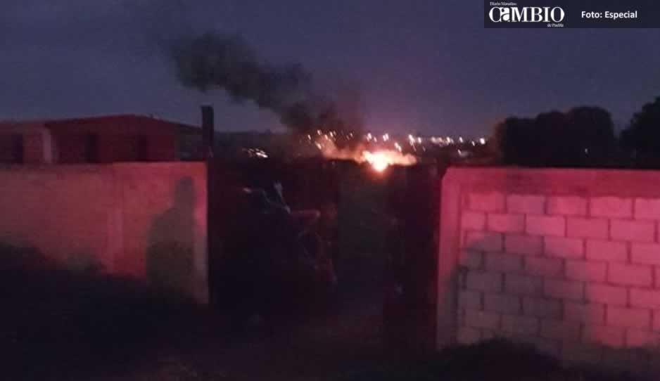 Se incendia ducto de Pemex en Huejotzingo