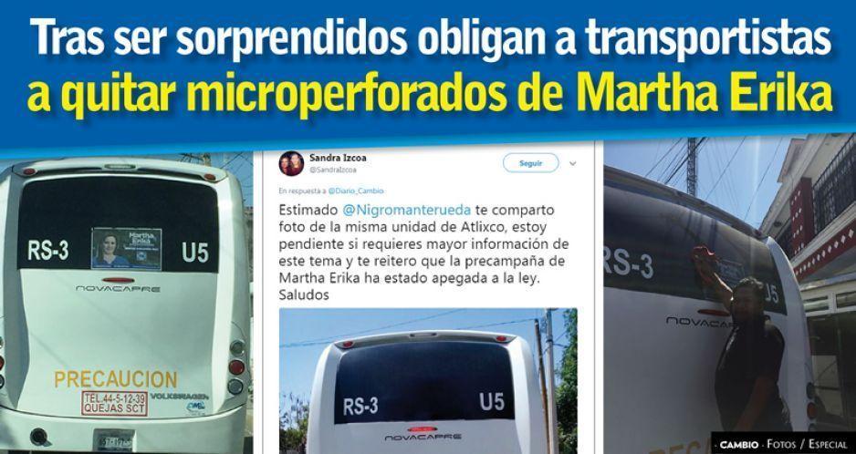 Tras ser sorprendidos, obligan a transportistas a quitar microperforados de Martha Erika