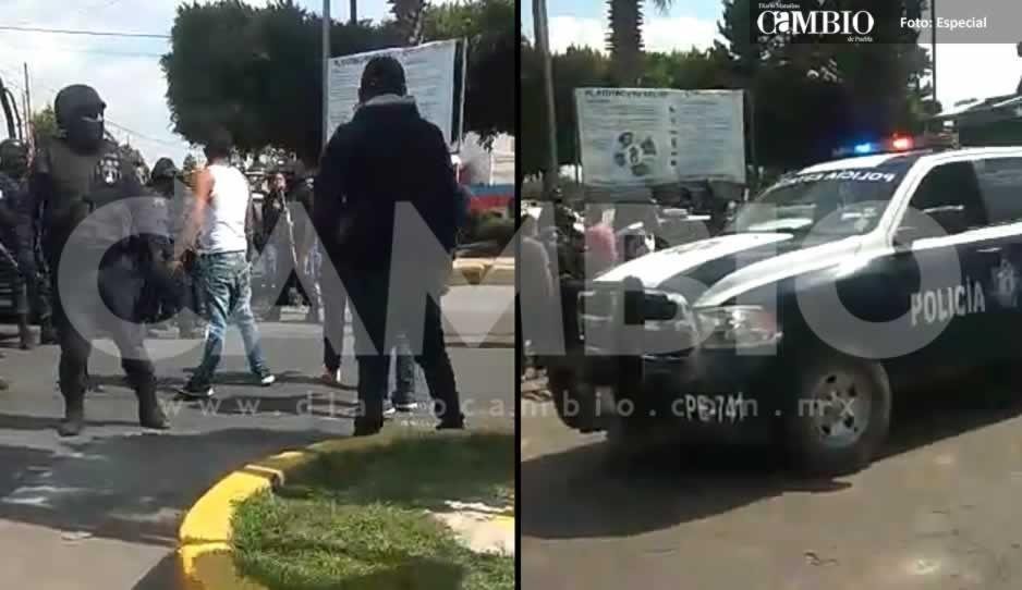 Tras aseguramiento de unidades, huachicoleros agreden a policías estatales en Texmelucan