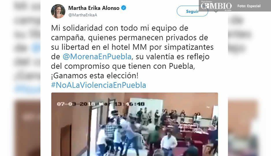 Martha Erika se solidariza con su equipo de campaña tras trifulca en el Hotel MM