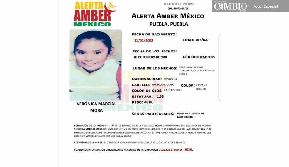 Activan alerta Amber por desaparición de niña en Puebla