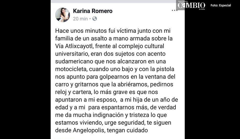 Ola de robos en la Atlixcáyotl: Karina Romero también fue víctima