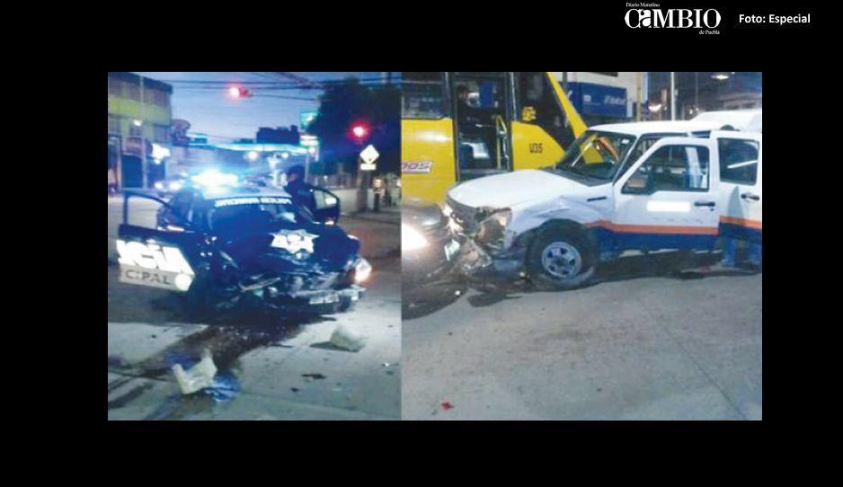 Choque de patrulla con camioneta de Televisa deja cuatro heridos