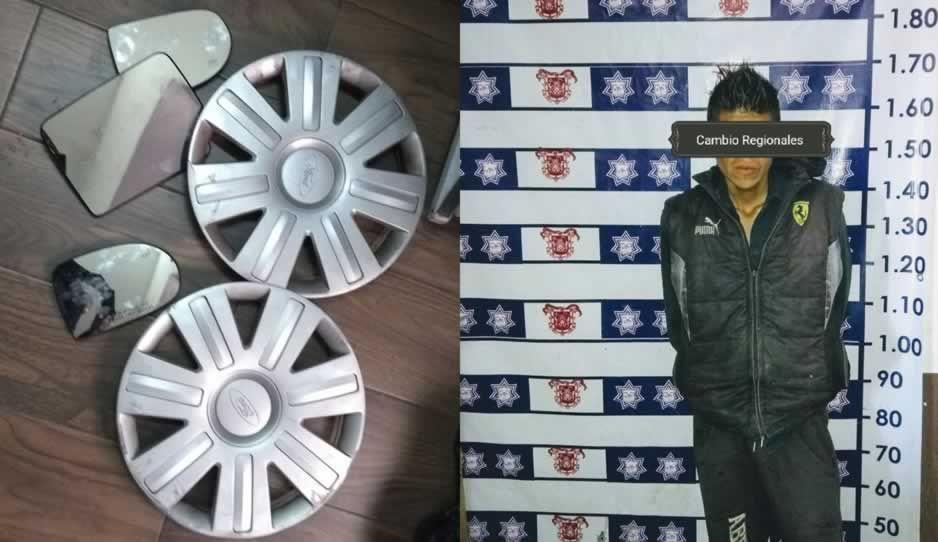 Policías de Huejotzingo detienen a sujeto por robo de auto partes