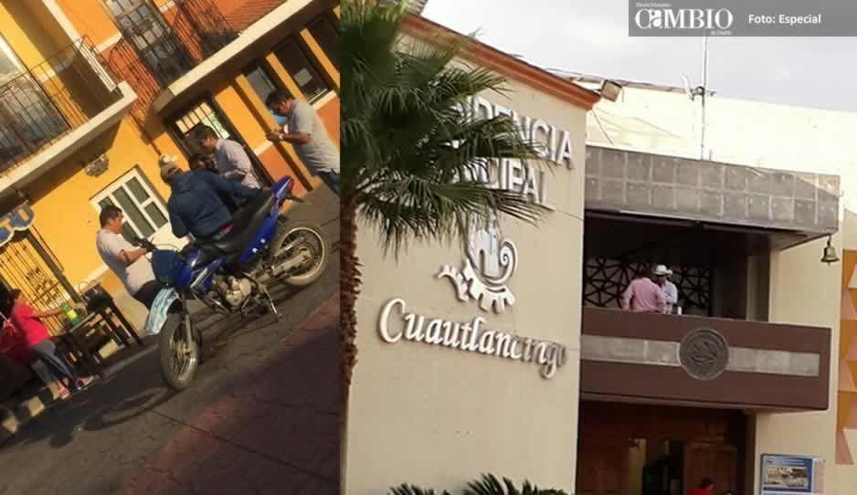 Captan a edil de Cuautlancingo echando chela en la presidencia