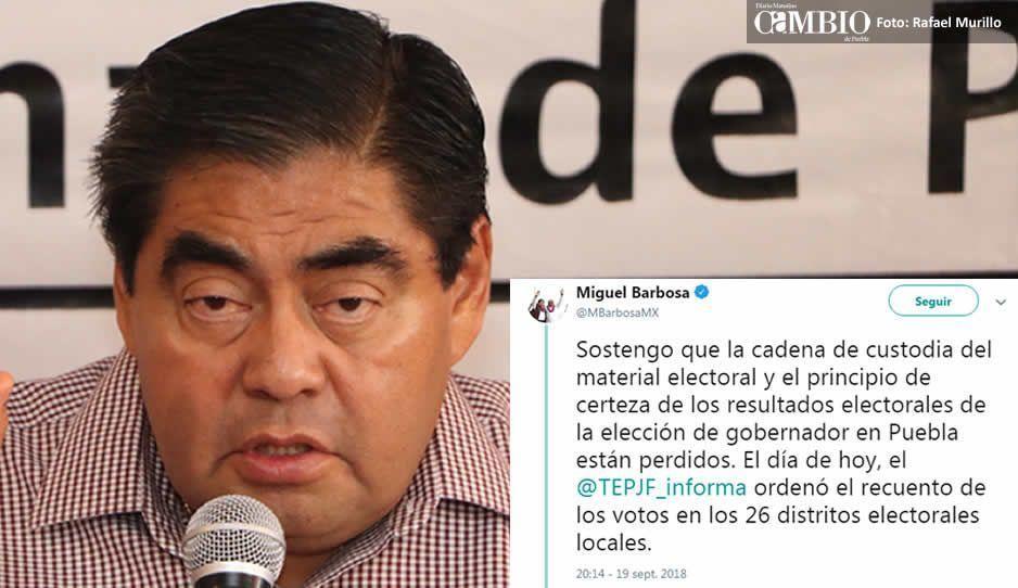 Barbosa descalifica el conteo total ordenado por el TEPJF: la certeza ya se perdió