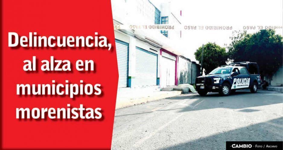 Crecen delitos en municipios morenistas: En Tehuacán 46%, en San Andrés 18%