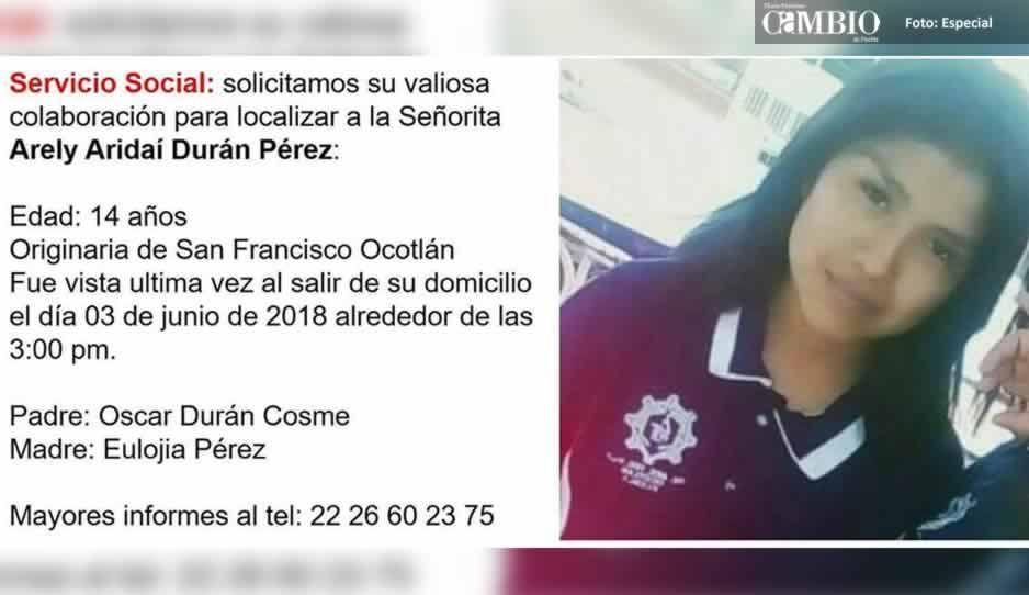 ¡Otra desaparecida! Arely Ariday fue vista por última vez en Coronango
