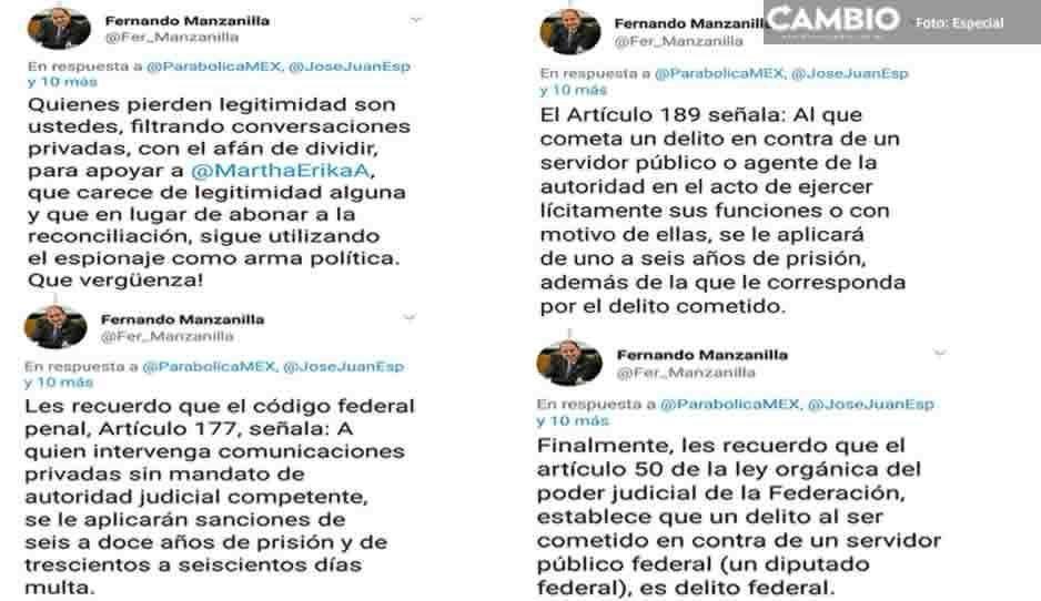 Manzanilla acusa de espionaje y amenaza con denuncia