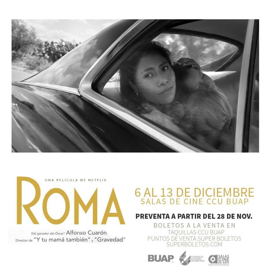 Del 6 al 13 de diciembre proyectará CCU BUAP la película ROMA