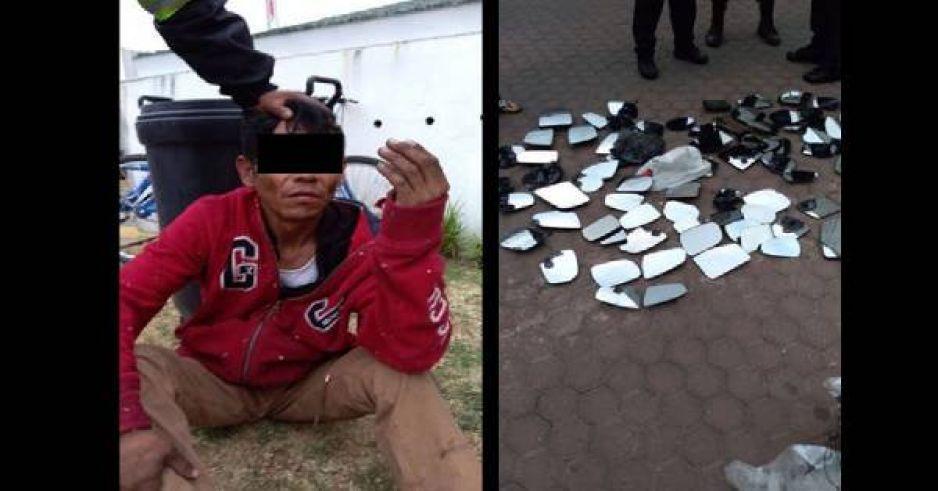 Capturan a rata de autopartes en pleno negocio; vendía más de 100 espejos en la Antigua Cementera