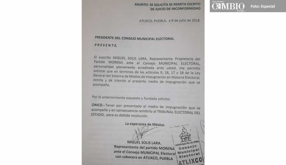 Morena impugna elección de Atlixco por presunto fraude