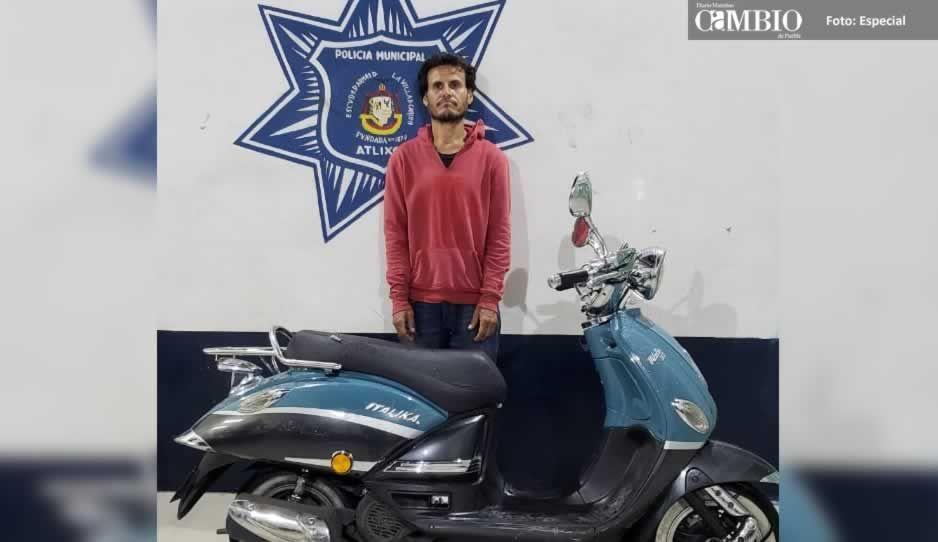 Detienen a ladrón de motoneta en Atlixco