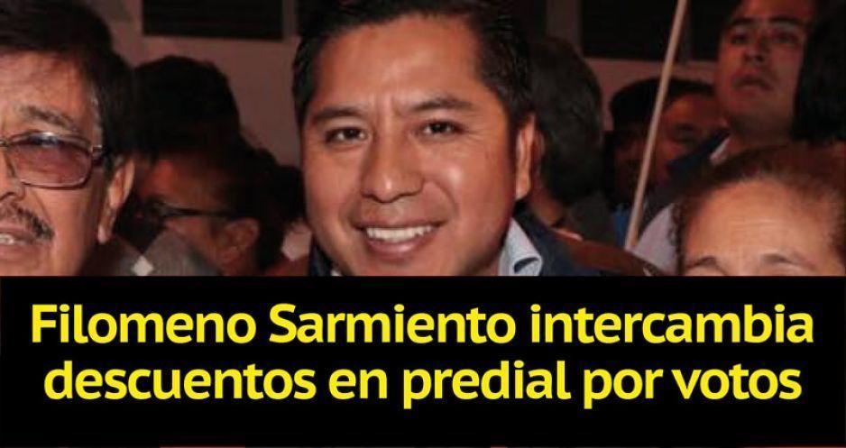 Filomeno Sarmiento intercambia descuentos en predial por votos