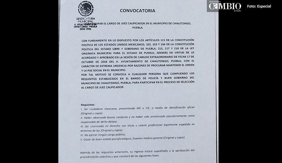 Autoridades de Chiautzingo lanzaron convocatoria para elegir juez calificador