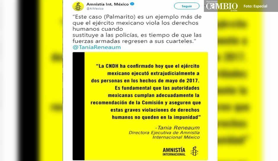 Amnistía Internacional exige que el Ejército deje las calles