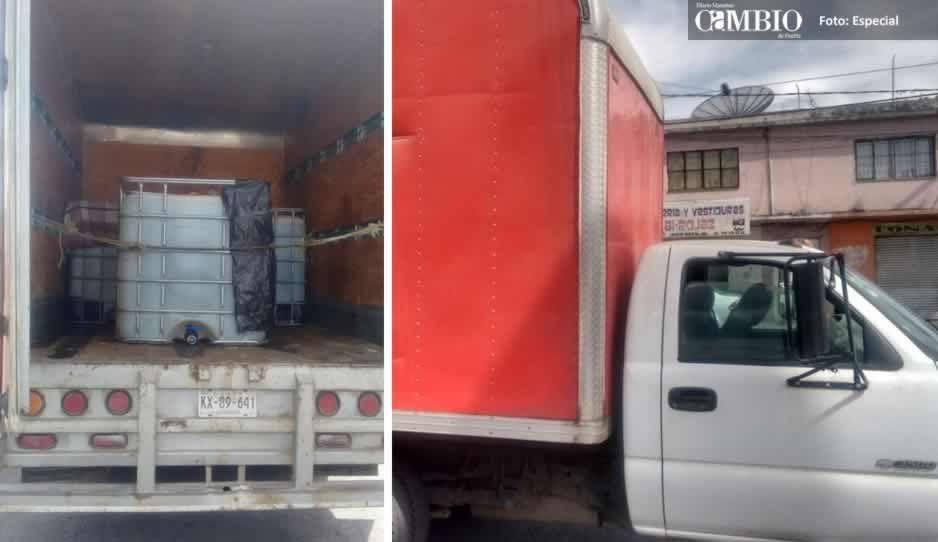 Aseguran unidad con más de dos mil litros de combustible en Tlahuapan