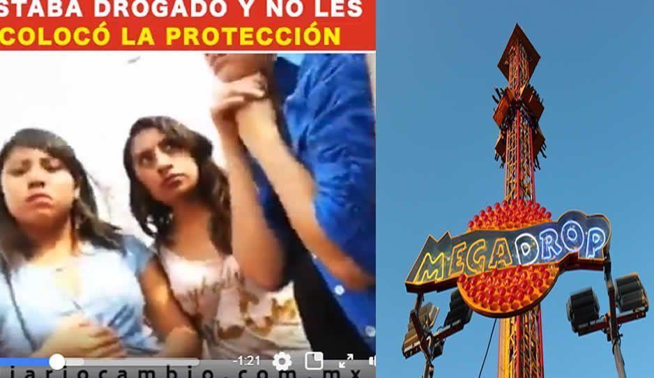 Casi mueren en la Feria de Puebla, les colocaron mal barra de seguridad en un juego mecánico