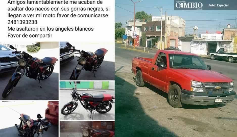 En menos de 24 horas se roban dos camionetas y una moto en Texmelucan