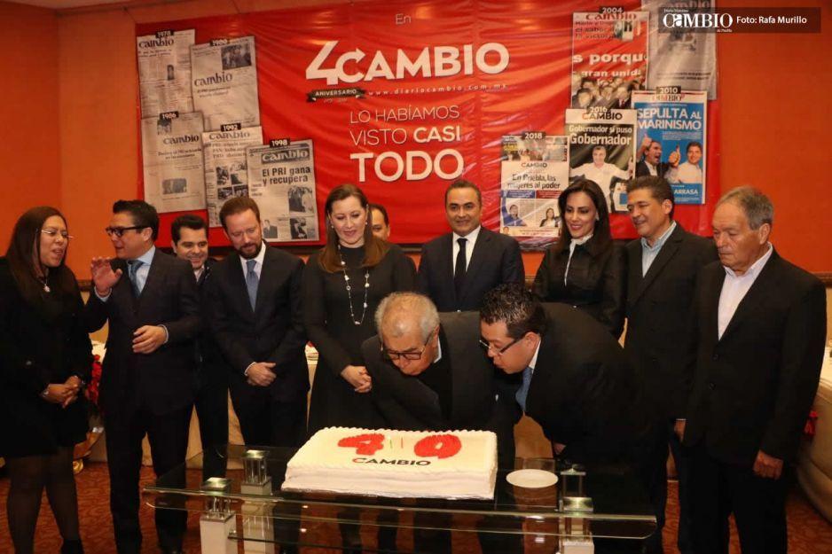 Con la presencia de Martha Erika Alonso, Gabriel Sánchez Andraca y Arturo Rueda; DIARIO CAMBIO festejó su 40 aniversario
