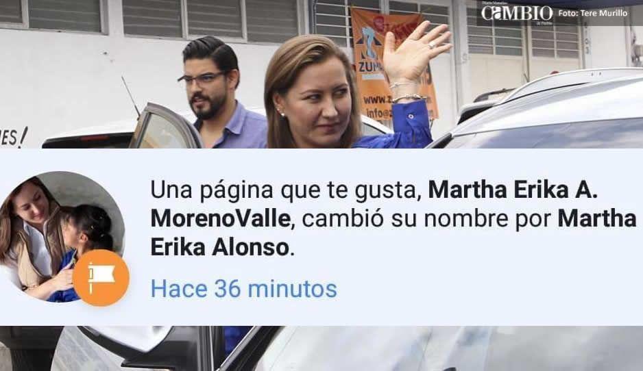 Martha Erika se quita el Moreno Valle de su página de Facebook