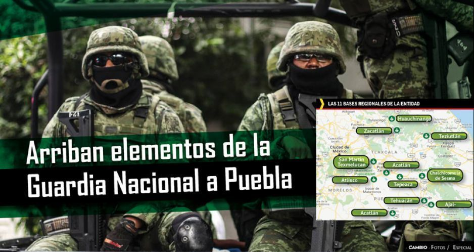 Arriban elementos de la Guardia Nacional a Puebla (VIDEO)