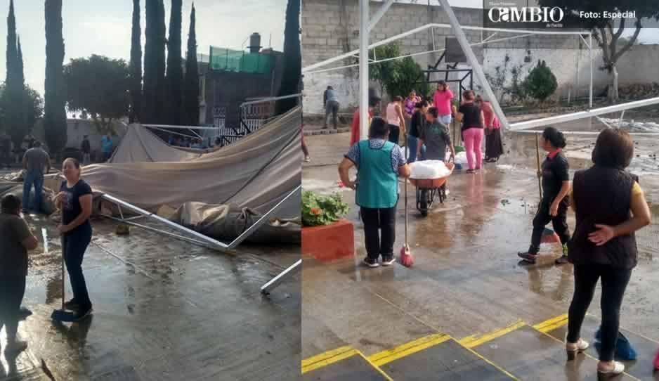 Granizada deja afectaciones en el techado de primaria de Tehuacán