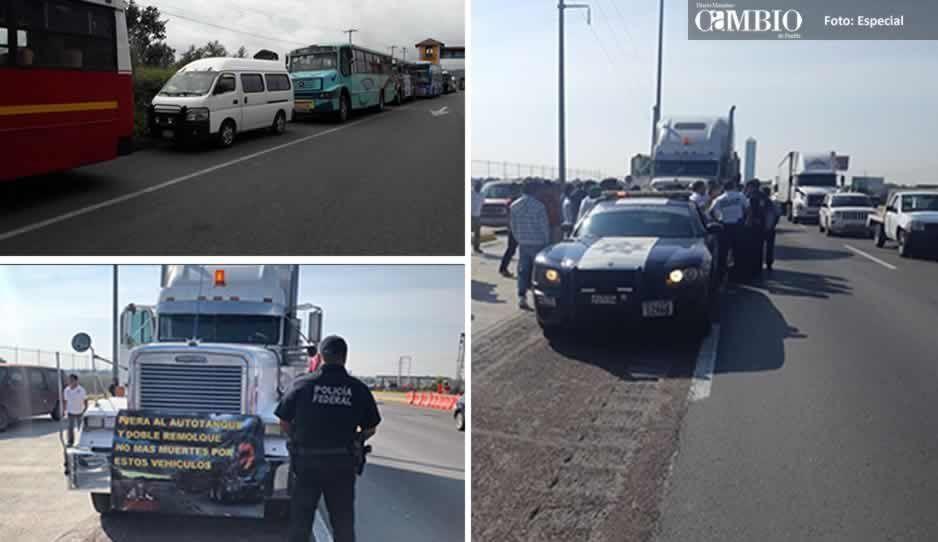 Cuidado poblanos: Transportistas toman vialidades en el estado