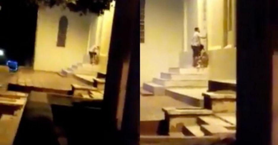 ¡Ay papá! cachan a colombianita haciendo sexo oral afuera de una iglesia